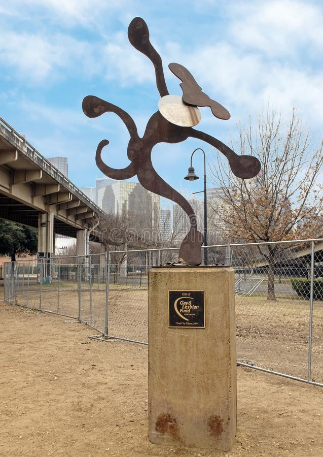 Het capricieuze beeldhouwwerk van de metaalhond, Schorspark Centrale, Diepe Ellum, Texas royalty-vrije stock foto's