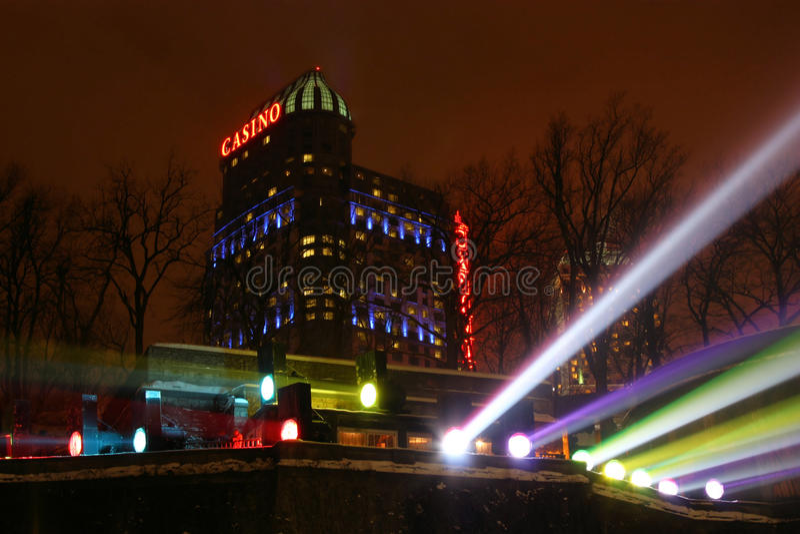 Het Casino van het Niagara Falls bij Nacht stock afbeelding