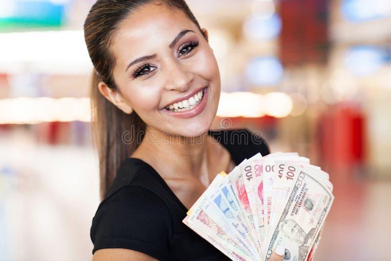 Het casino van het vrouwencontante geld royalty-vrije stock foto's