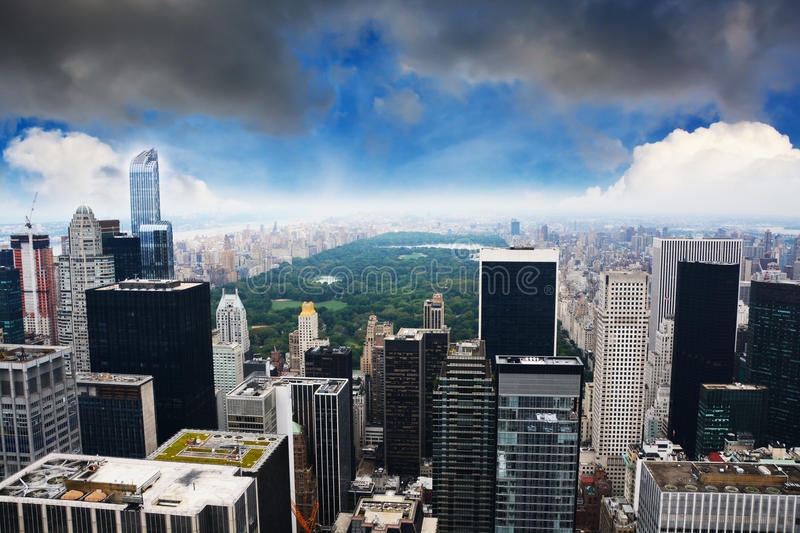 Het Central Park luchtmening van New York Manhattan stock foto