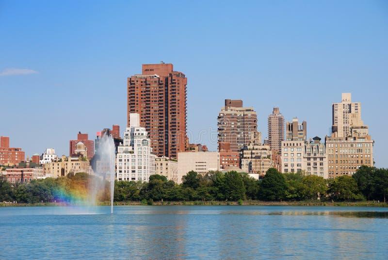 Het Central Park van de Stad van New York met fontein royalty-vrije stock foto