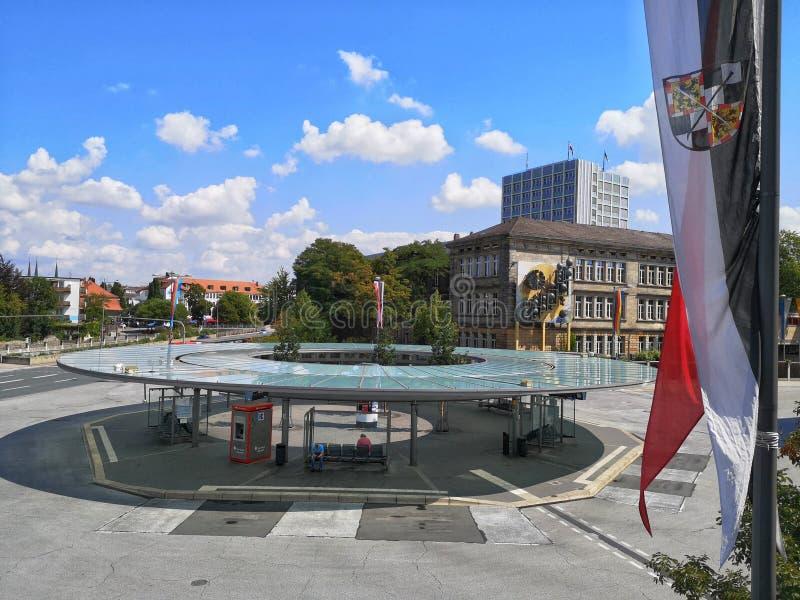 Het centrale busstation van Bayreuth - carillon stock foto