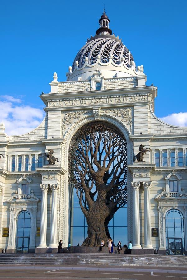 Het centrale deel van het 'Paleis van het Ministerie van Landbouwers van Landbouw van de Republiek Tatarstan, Kazan royalty-vrije stock afbeeldingen
