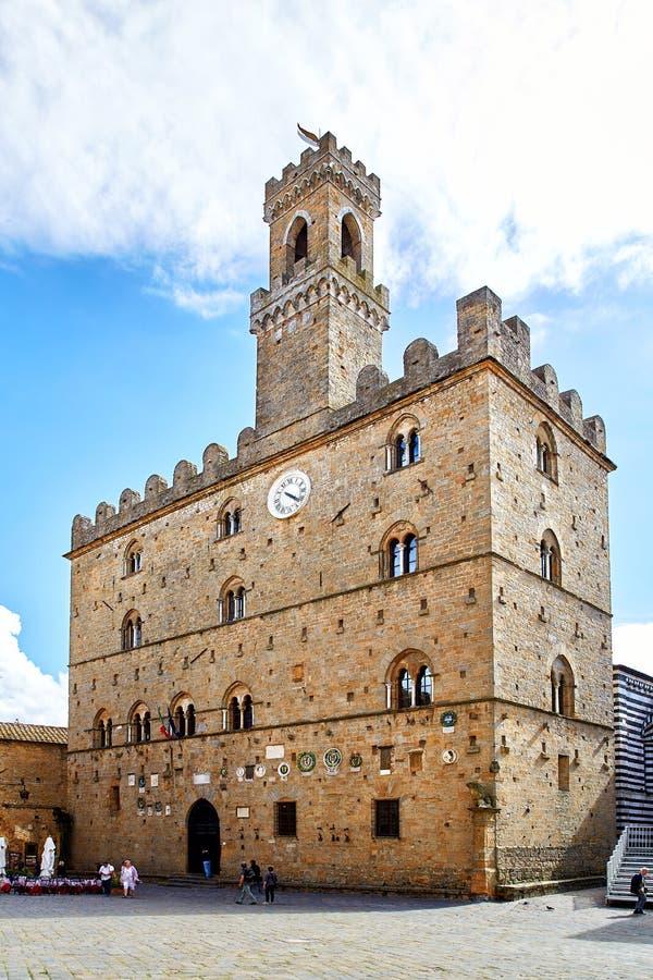 Het centrale vierkant van de Volterrastad royalty-vrije stock foto's
