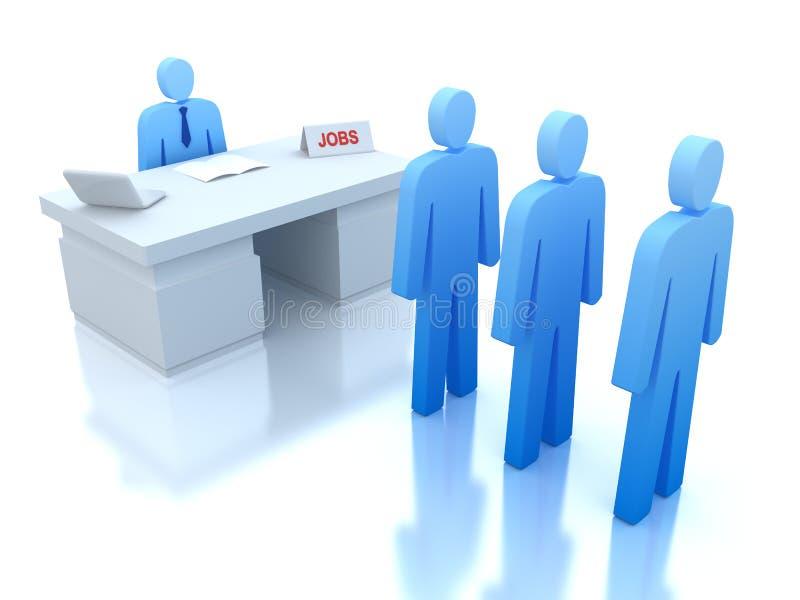Het Centrum van de baan: werkgevers die voor werknemers testen stock illustratie