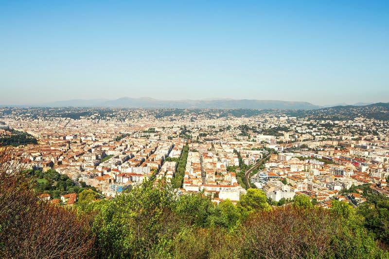 Het centrum van de Birdviewstad van Nice, Frankrijk royalty-vrije stock foto's