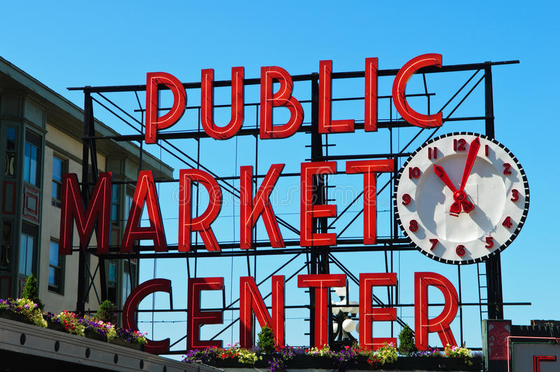 Het Centrum van de openbare Markt in Seattle Washington stock foto