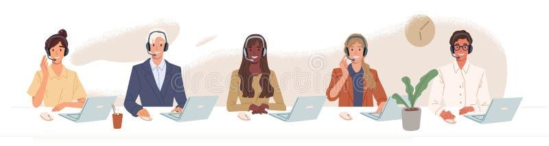 Het centrum van de vraag, hotline vlakke vectorillustraties Het glimlachen van bureauarbeiders met hoofdtelefoonkarakters Klant vector illustratie