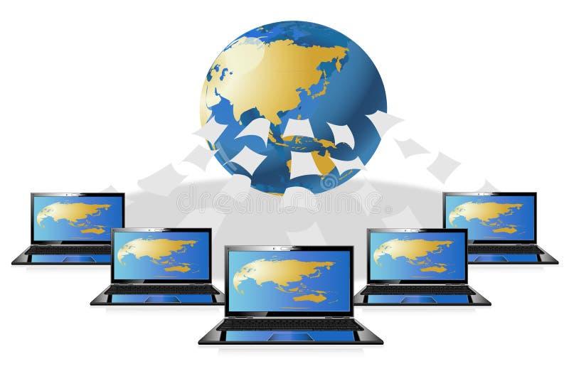 Het centrum van de wereldgegevens van de computer royalty-vrije illustratie