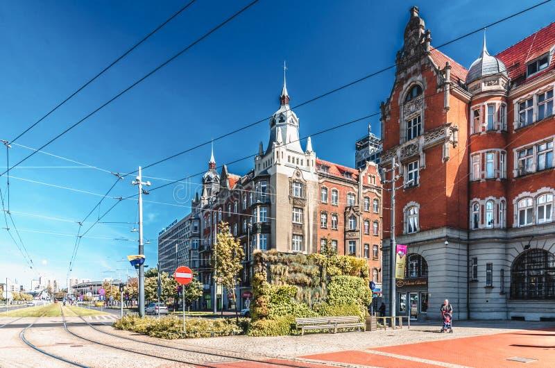 In het centrum van Katowice, Polen, gebouwde woningen in Art Nouveau-stijl stock afbeelding