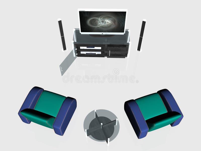 Het centrum van media, het plasmascherm in woonkamer royalty-vrije illustratie
