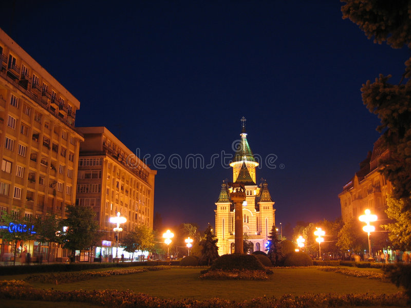 Het centrum van Timisoara bij nacht, Roemenië royalty-vrije stock afbeeldingen