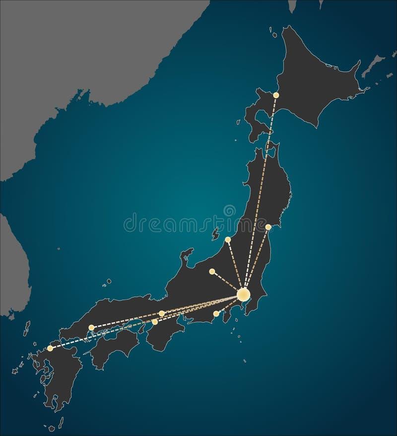 Het centrum van Tokyo, een Kaart van Japan stock illustratie