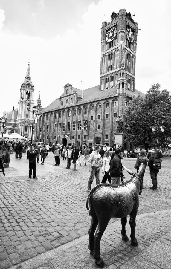 Het centrum van Torun, Polen stock foto's