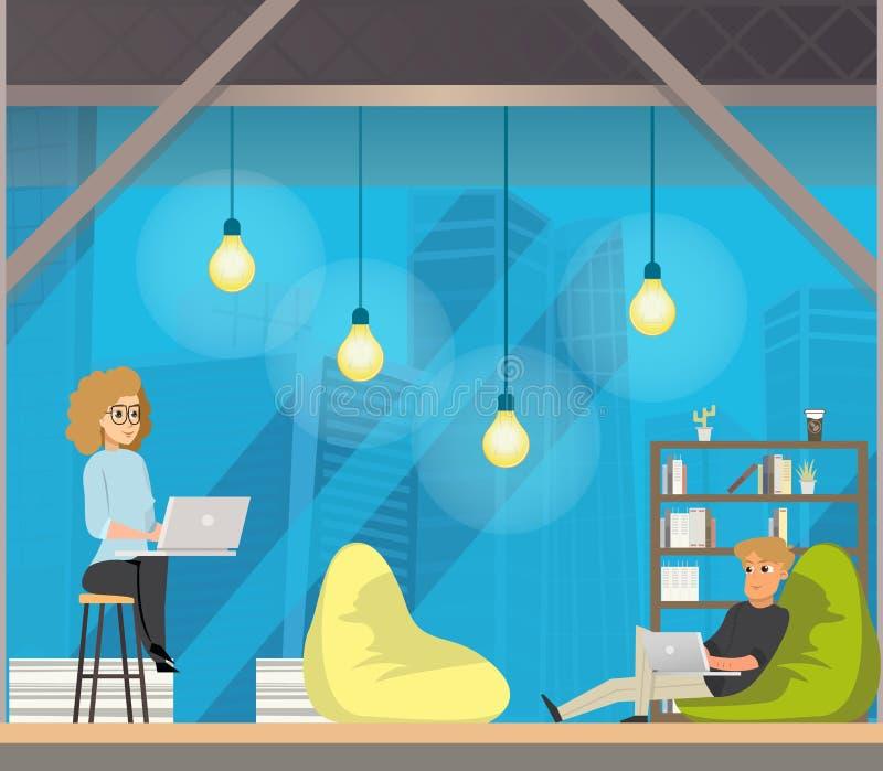 Het Centrumconcept van de Coworkingsopen plek stock illustratie