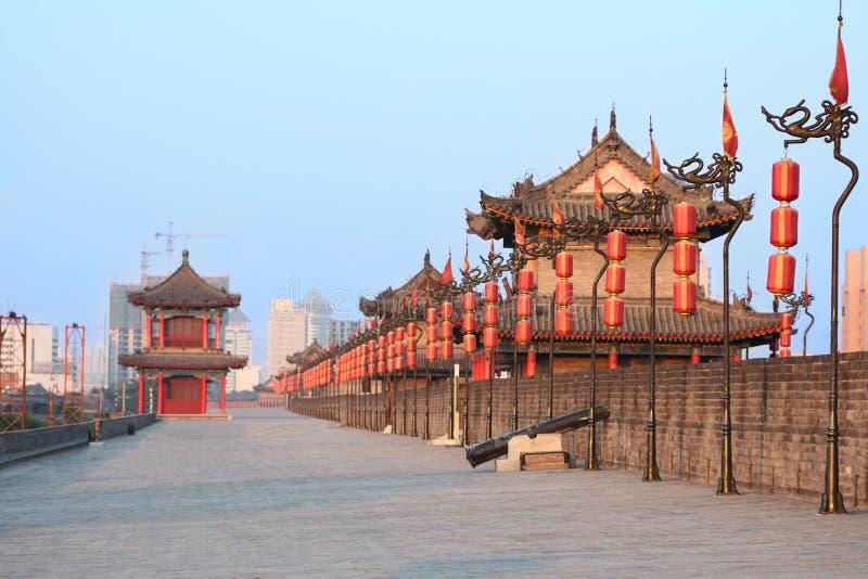 Het centrummuur van de stad, Xi'an, China stock foto