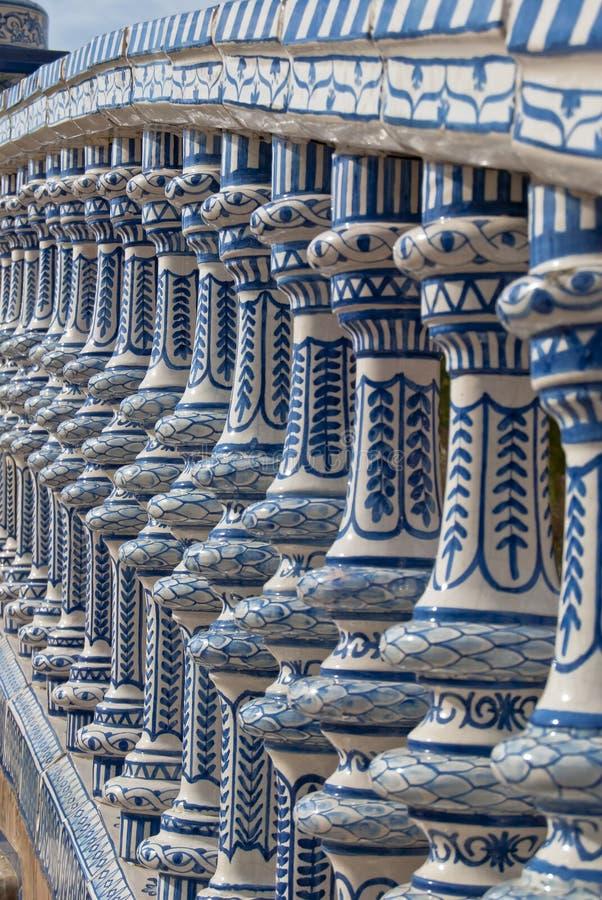 Het ceramische vierkant van de Brug van Spanje in Sevilla stock afbeelding