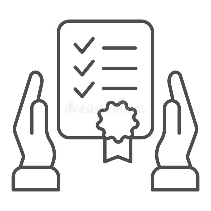 Het certificaat in handen verdunt lijnpictogram De vectordieillustratie van de garantielijst op wit wordt geïsoleerd Het document vector illustratie
