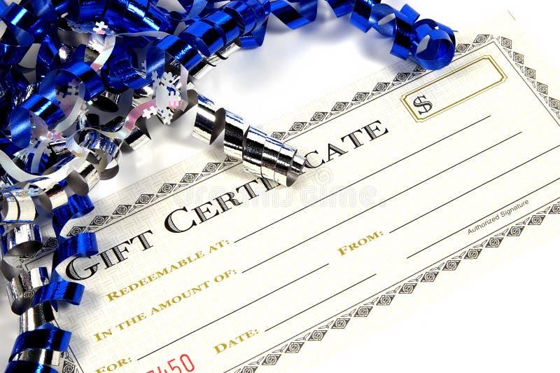 Het Certificaat van de gift stock foto's