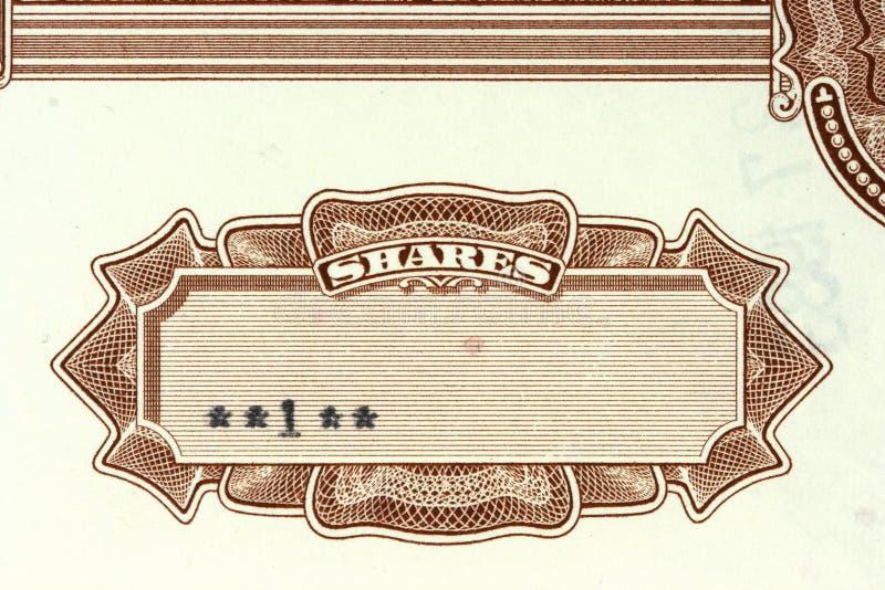 Het certificaat van het aandeel stock foto's