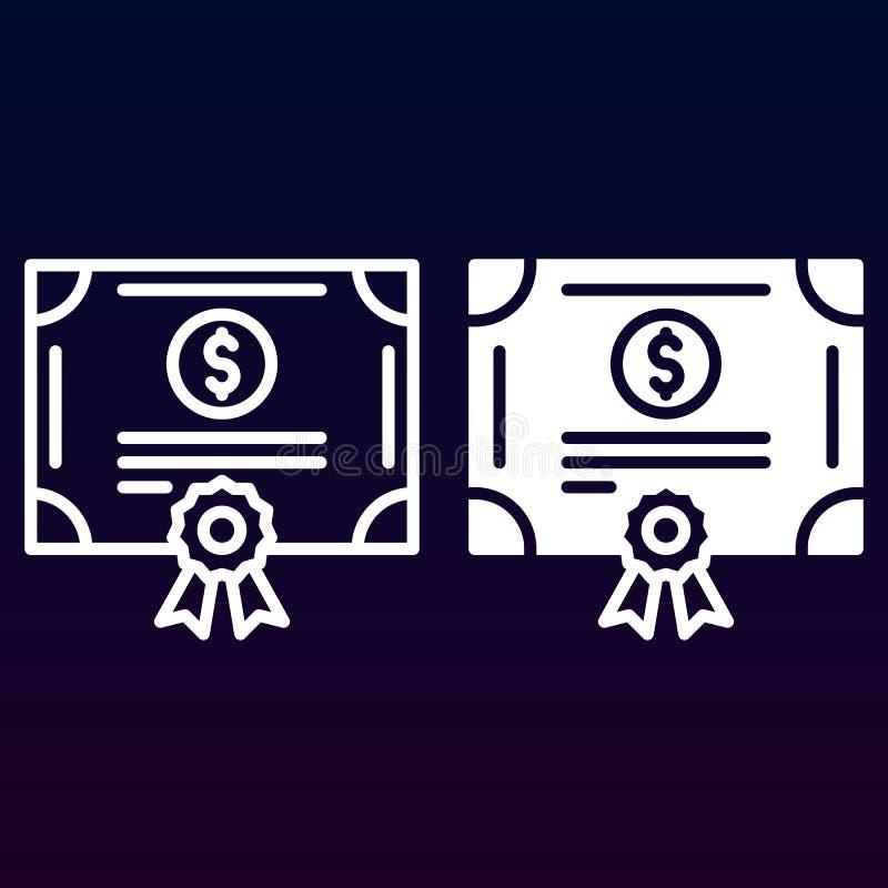 Het certificaatlijn van het voorraadaandeel en stevig pictogram, overzicht en gevuld vectorteken, lineair en volledig die pictogr vector illustratie