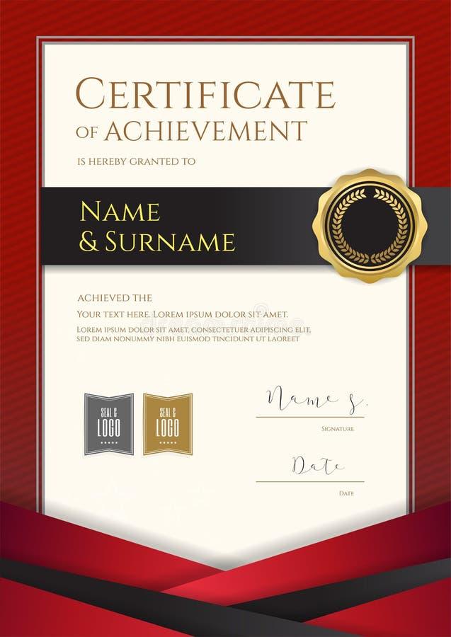 Het certificaatmalplaatje van de portretluxe met elegante rode grensfra stock illustratie