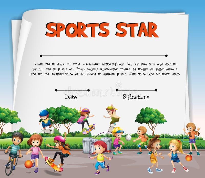 Het certificaatmalplaatje van de sportenster met jonge geitjes die sporten spelen vector illustratie