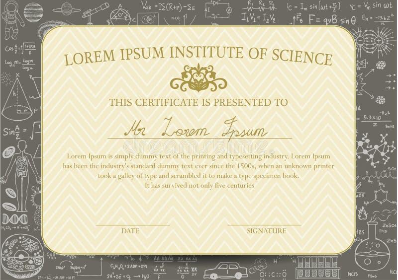 Het certificaatmalplaatje wordt ontworpen voor wetenschap of onderwijsgebied en met bordachtergrond verfraaid stock illustratie