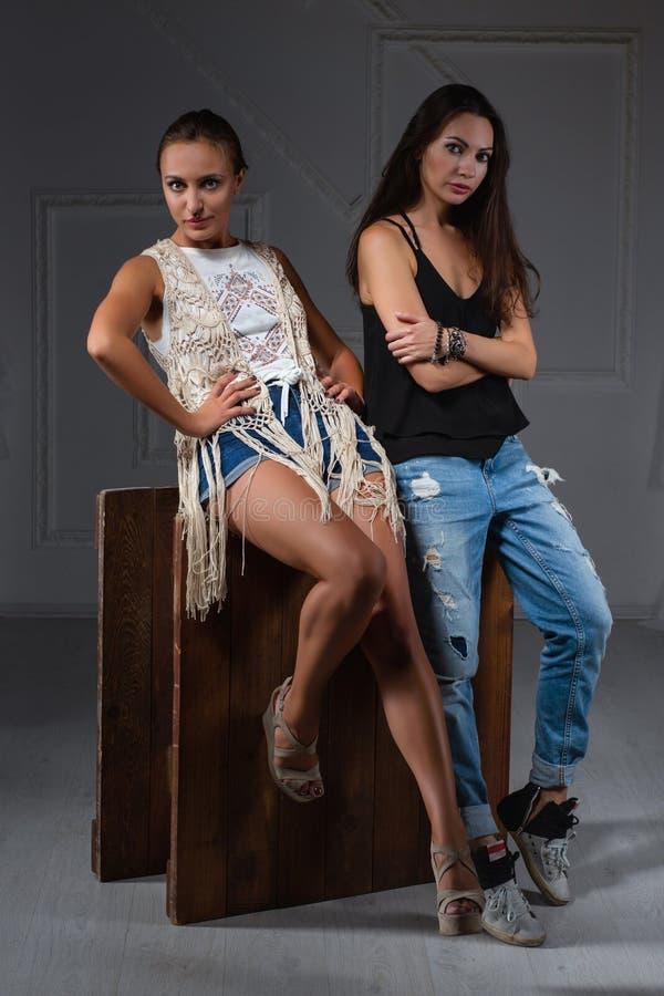 Het charmante dame twee stellen in een studio royalty-vrije stock afbeelding