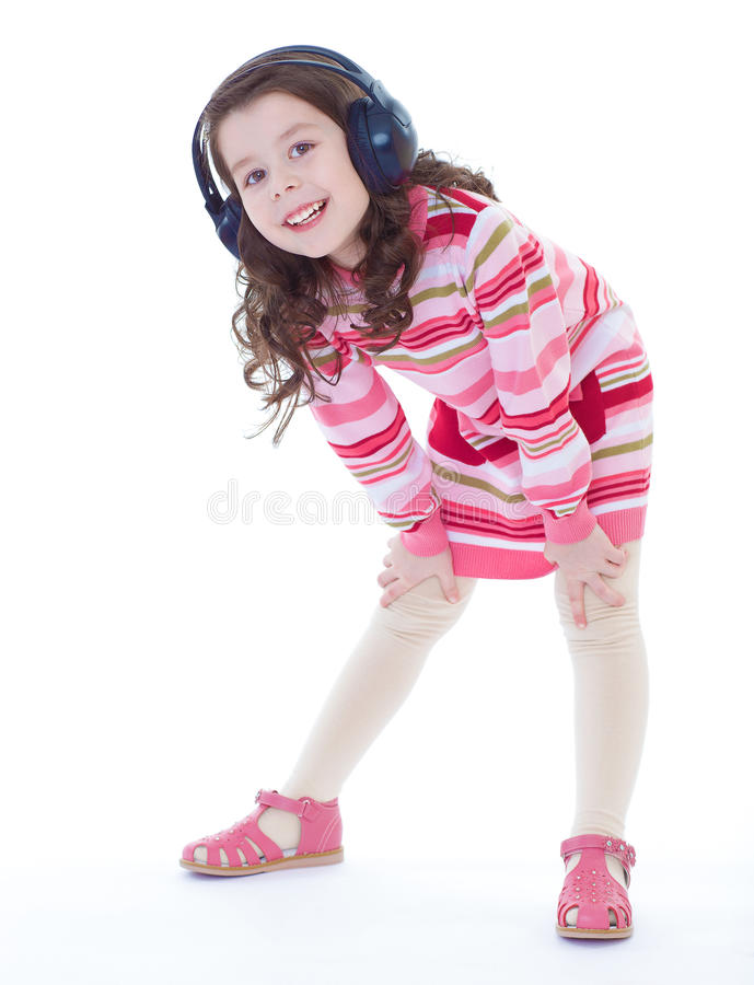 Het charmeren en zeer het muzikale meisje dansen. stock fotografie