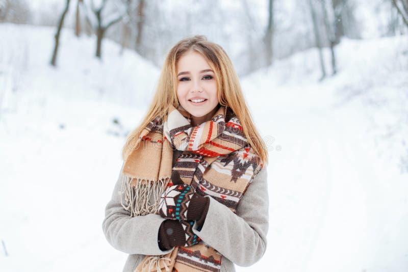 Het charmeren van zoet jong meisje in een de winter modieuze laag in een uitstekende wolsjaal in modieuze warme vuisthandschoenen royalty-vrije stock foto