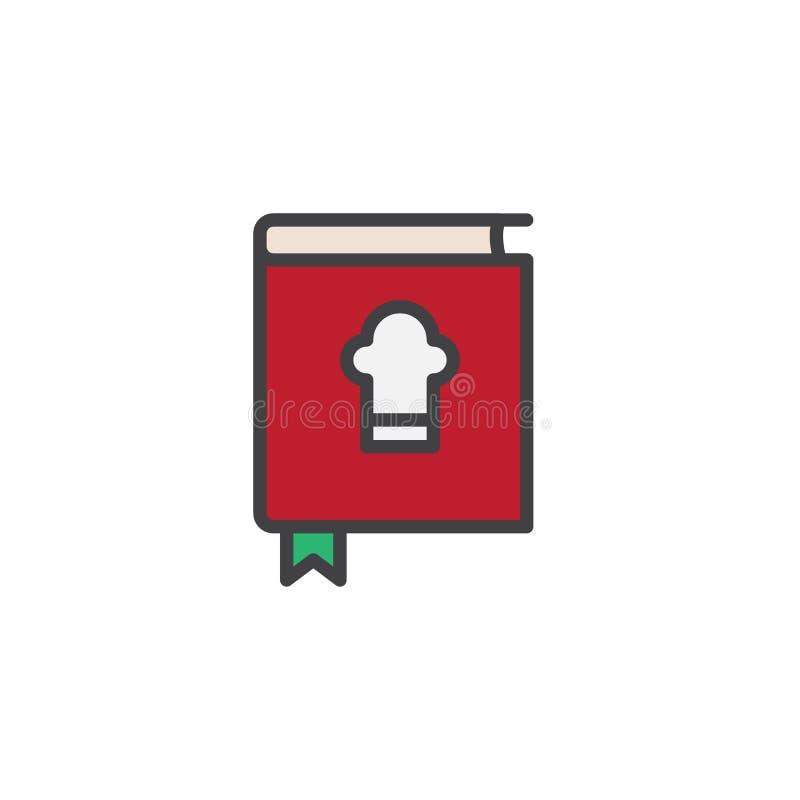 Het chef-kokkookboek vulde overzichtspictogram royalty-vrije illustratie