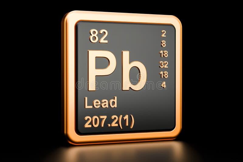 Het chemische element van Pb van loodplumbum het 3d teruggeven vector illustratie