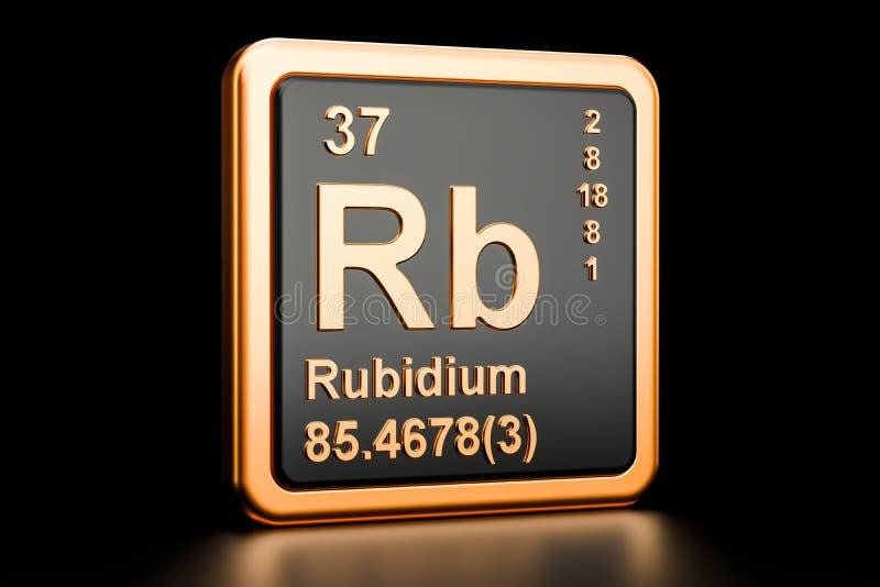 Het chemische element van rubidiumrb het 3d teruggeven vector illustratie