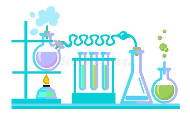 Het chemische materiaal van het wetenschapslaboratorium Reageerbuizen, flessen, spiritlam vectot stock illustratie