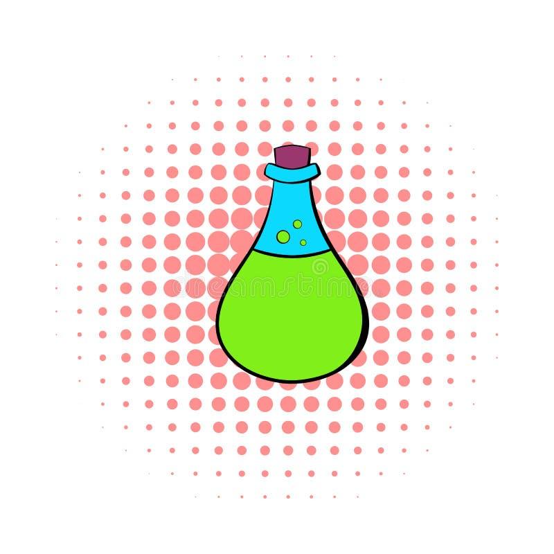 Het chemische pictogram van de laboratorium transparante fles vector illustratie