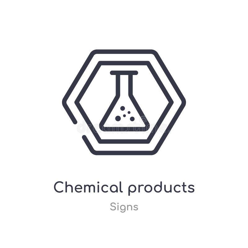 het chemische pictogram van het productenoverzicht ge?soleerde lijn vectorillustratie van tekensinzameling editable dunne slag ch royalty-vrije illustratie