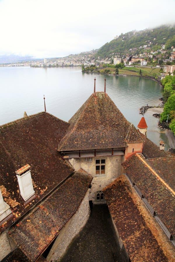 Het Chillon-Kasteel (Chateau DE Chillon), Zwitserland royalty-vrije stock foto's