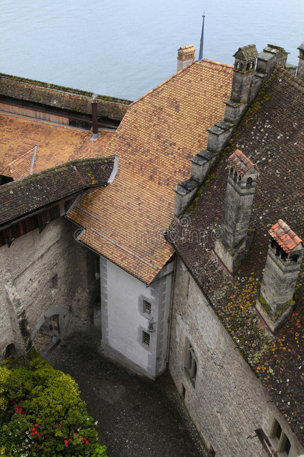 Het Chillon-Kasteel (Chateau DE Chillon), Zwitserland stock fotografie