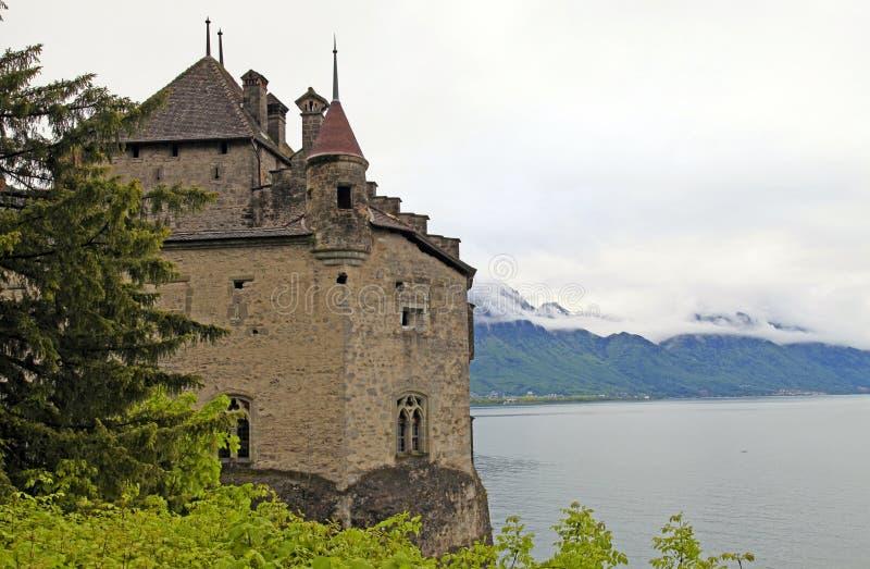 Het Chillon-Kasteel (Chateau DE Chillon), Zwitserland stock foto's