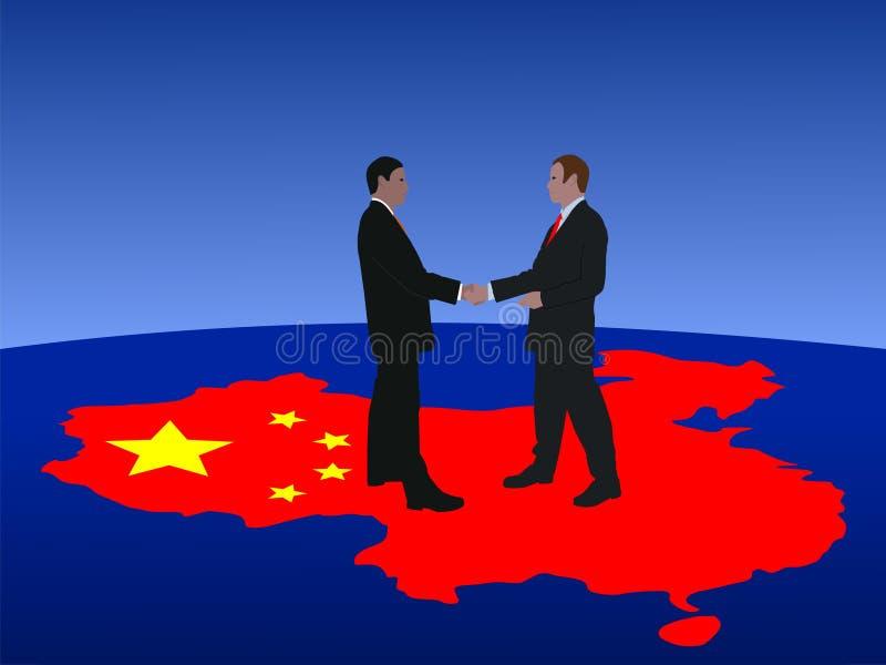 Het Chinese bedrijfsmensen samenkomen stock illustratie