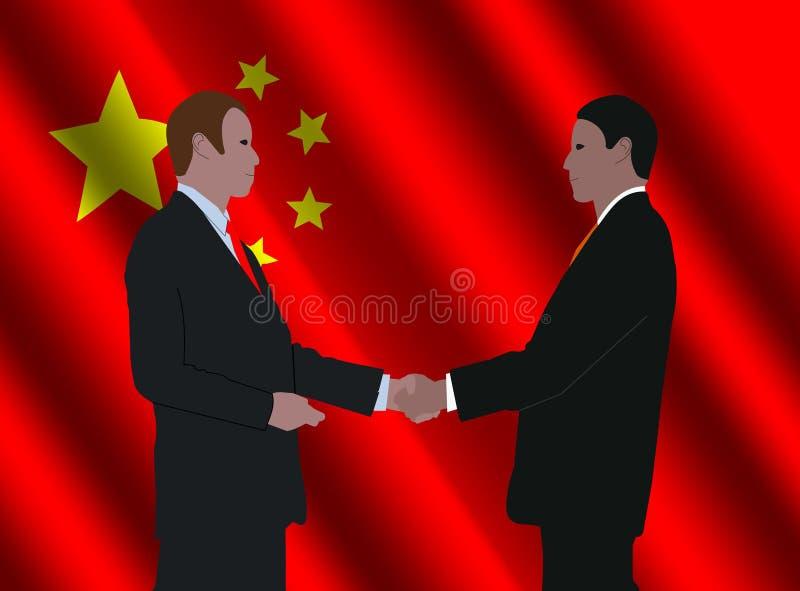 Het Chinese bedrijfsmensen samenkomen royalty-vrije illustratie
