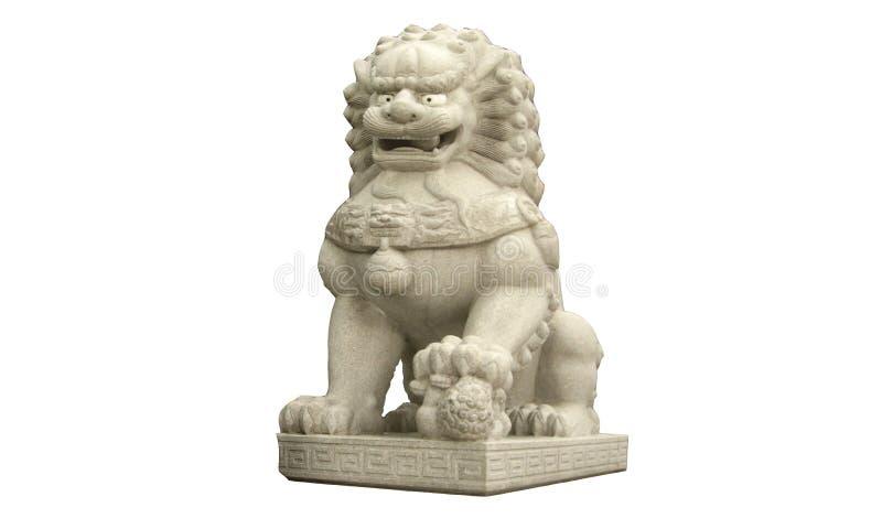 Het Chinese beeldhouwwerk van de leeuwsteen dat op witte achtergronden wordt geïsoleerd stock afbeelding