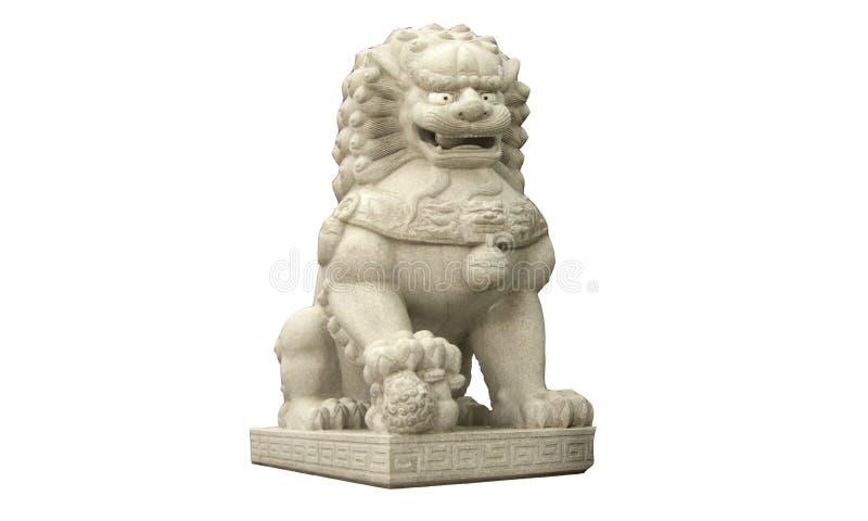 Het Chinese beeldhouwwerk van de steenleeuw dat op witte achtergronden wordt ge?soleerd stock afbeelding