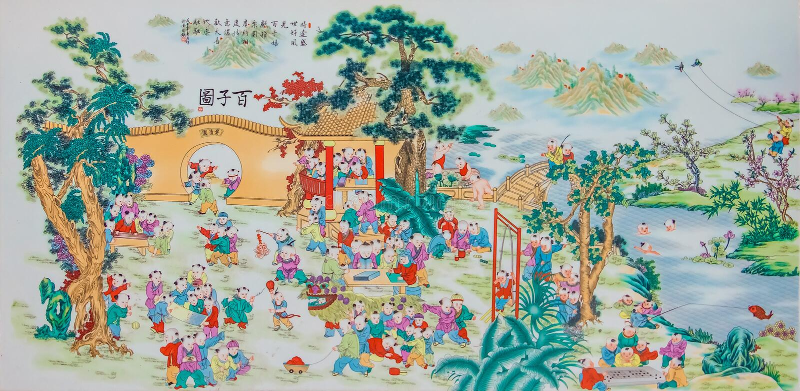 Het Chinese de pastelkleur van het stijlporselein schilderen royalty-vrije stock afbeeldingen