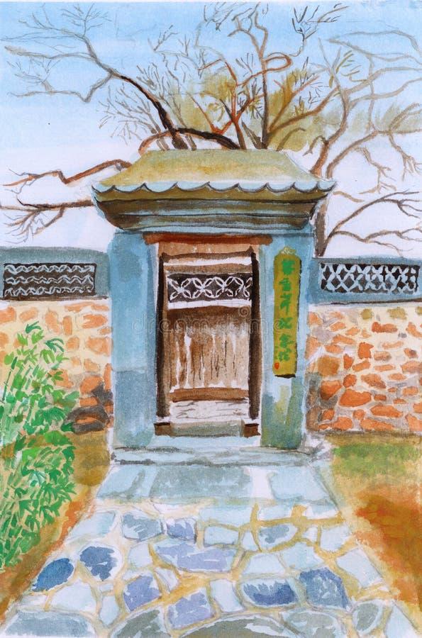 Het Chinese de waterverf van de tuindeur schilderen stock illustratie