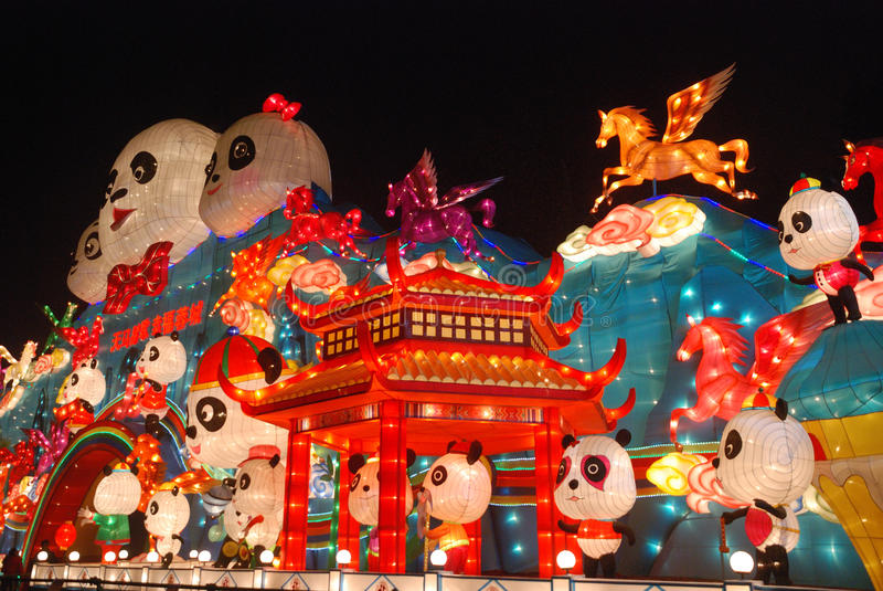 2014 het Chinese festival van de Nieuwjaarlantaarn stock afbeeldingen