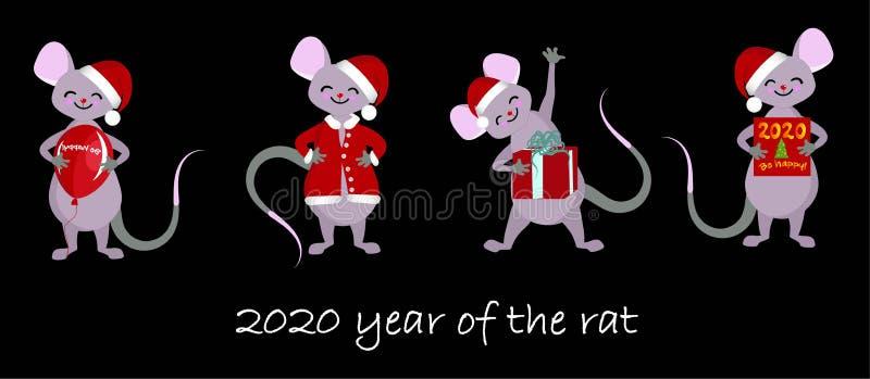 Het Chinese Jaar van het dierenriemteken van de Rat, Stickers voor rat van het kinderen de Gelukkige Chinese Nieuwjaar 2020 stock illustratie