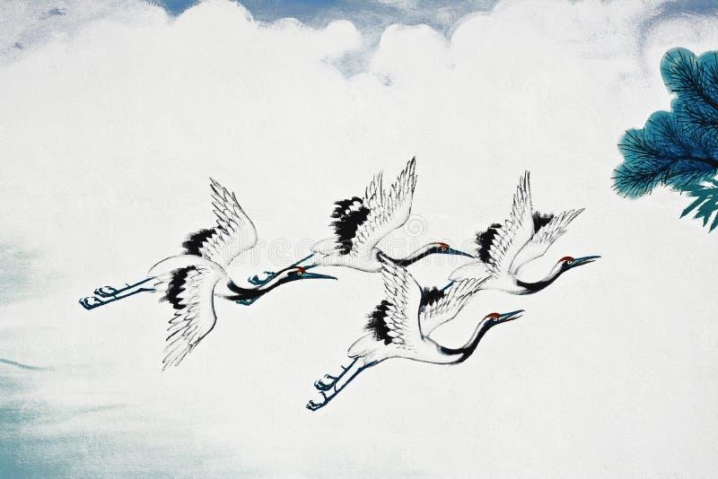 Het Chinese kraanvogel schilderen stock afbeelding