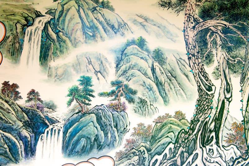 Het Chinese landschap schilderen royalty-vrije illustratie
